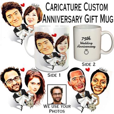 Caricature Anniversary Gift Mug